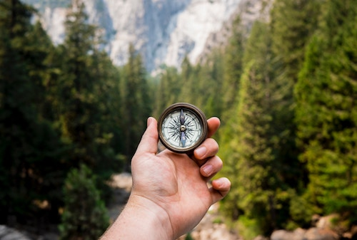 hand holding a compass while in a forest
